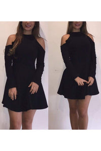 2019 High Neck Long Sleeves Homecoming Dresses A Line Spandex Short/Mini