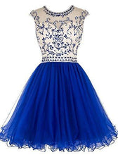 Load image into Gallery viewer, Short Beading Prom Dress Tulle Scoop Cap Sleeve Royal Blue Evening Dress Hollow Back RS921