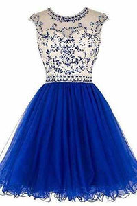 Short Beading Prom Dress Tulle Scoop Cap Sleeve Royal Blue Evening Dress Hollow Back RS921