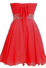 Load image into Gallery viewer, Short Chiffon Strapless Crystal Homecoming Dress D0263