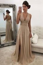 Load image into Gallery viewer, Charming Open Back V-Neck Front Split Champagne Beading Chiffon Prom Dresses