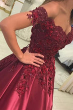 Load image into Gallery viewer, Burgundy Prom Dress Satin Ball Gown Off-The-Shoulder With Applique
