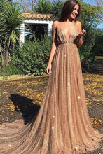Load image into Gallery viewer, 2019 Sexy Backless Spahgetti Straps Halter Long Evening Prom Dresses