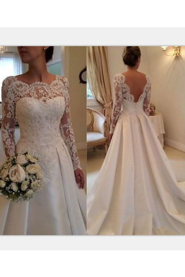 2019 Long Sleeve Wedding Dresses A Line Satin Court Train