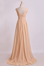 Load image into Gallery viewer, 2019 Bridesmaid Dress V Neck A Line Floor Length Chiffon With Beads