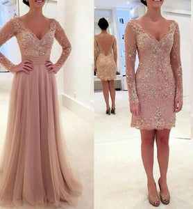 Elegant Long Sleeve Lace Tulle Pink Sexy A-Line V-Neck Prom Dresses 2019 RS974