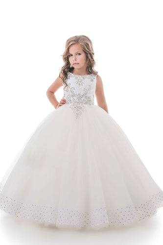 2019 Flower Girl Dresses Ball Gown Scoop Open Back Tulle With Beading