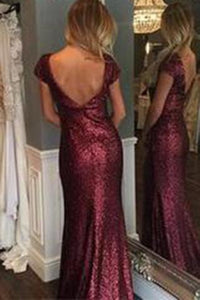 Short Sleeve Mermaid Sexy Pretty Women Sequin Custom Make Long Cheap Prom Dresses RS686