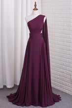 Load image into Gallery viewer, 2019 One Shoulder A Line Chiffon Prom Dresses With Ruffles Sweep Train