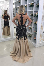 Load image into Gallery viewer, 2019 Mermaid Prom Dresses Scoop Tulle With Applique And Pearls