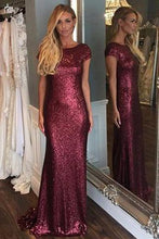Load image into Gallery viewer, Short Sleeve Mermaid Sexy Pretty Women Sequin Custom Make Long Cheap Prom Dresses RS686