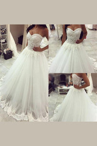 2019 Sweetheart Wedding Dresses A Line Tulle With Applique Chapel Train