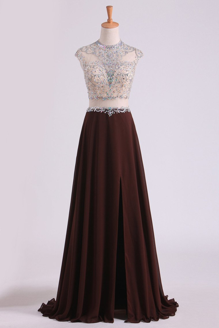 2019 Scoop Prom Dresses A Line Beaded Bodice Chiffon & Tulle With Slit Color Chocolate