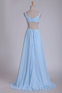2019 Straps Prom Dresses A Line With Beads Floor Length Chiffon