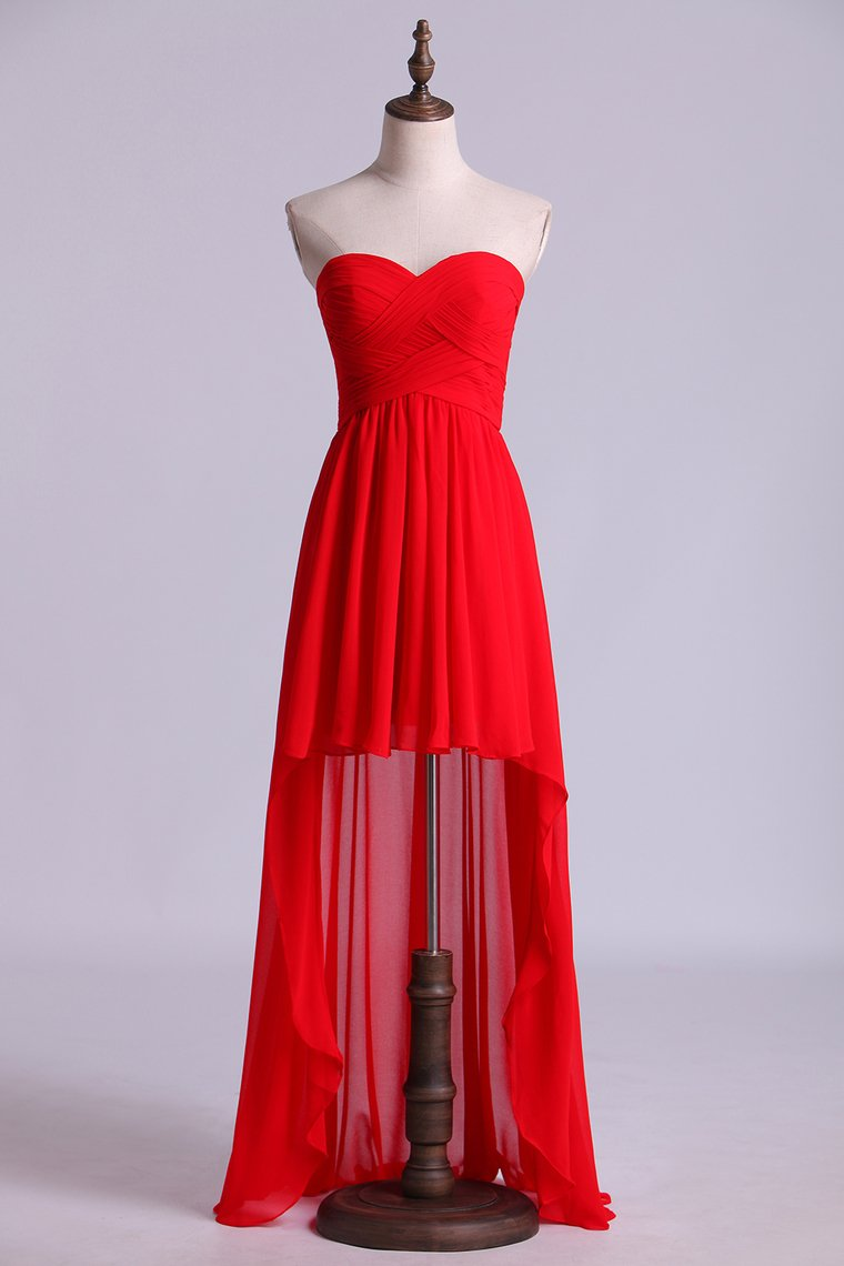 2019 Red High Low Sweetheart A Line Pleated Bodice Flowing Chiffon Skirt