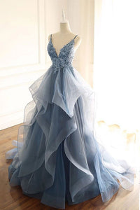 Spaghetti Straps Blue Gray Tulle V Neck Long Ruffles Prom Dresses with Lace Applique SRS15411