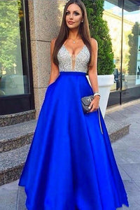 Sparkly V-Neck Silver And Royal Blue Long A-Line Prom Dresses Party Dresses