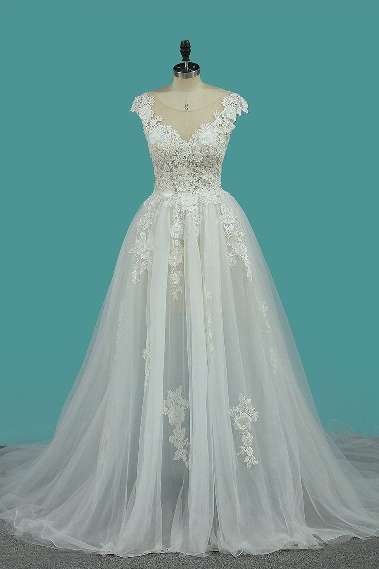 2019 A Line Off The Shoulder Tulle Wedding Dresses With Applique