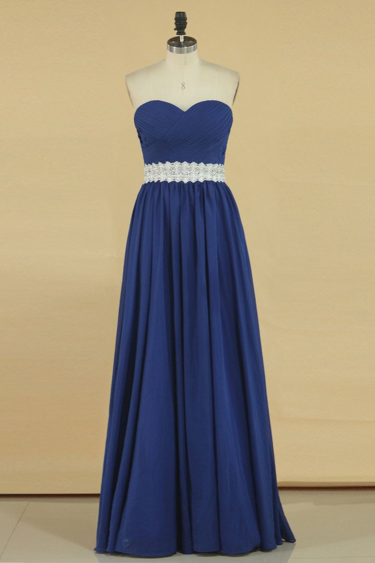 2019 Prom Dresses Sweetheart A Line Chiffon With Beads And Ruffles
