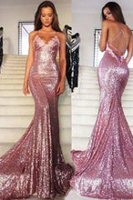Load image into Gallery viewer, Rose Gold Sequin Mermaid Long Spaghetti Strap Sexy Backless Dresses For Prom RS133
