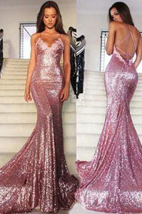 Rose Gold Sequin Mermaid Long Spaghetti Strap Sexy Backless Dresses For Prom RS133