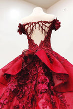 Load image into Gallery viewer, Modest Ball Gown Burgundy Lace Beading Princess Prom Dresses With Appliques