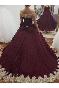 2019 Off The Shoulder Ball Gown Quinceanera Dresses Tulle With Applique Bow Knot