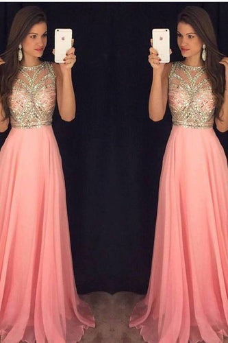 A-Line Round Neck Lace Chiffon Ball Gown Beading Evening Dress