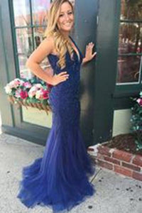 V-neck Beading Backless Long Mermaid Prom Dresses Evening Dresses RS550