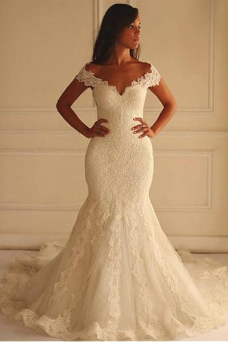 2019 Off The Shoulder Tulle With Applique Court Train Mermaid Wedding Dresses