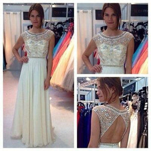 New Ivory Chiffon Long Cap Sleeves Charming Open Back Scoop A-line Beading Prom Dresses RS23
