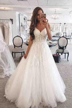 Load image into Gallery viewer, Elegant Floor Length Ivory Tulle Wedding Dresses Long Bridal Dresses