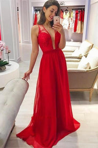 Deep V-Neck Pretty Red Long Lace Chiffon Charming Prom Dresses