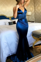Load image into Gallery viewer, Sheath Royal Blue Long Open Back Sexy Prom Dresses Evening Dresses