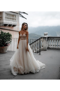 Pleated Tulle Bridal Dresses SweetHeart Neckline Minimalist Wedding Dresses