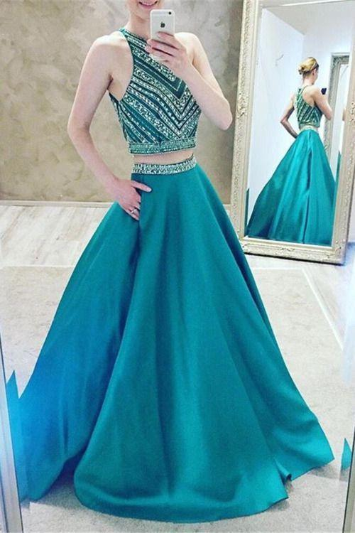 Luxury Two-Pieces Halter Evening Gowns 2019 Sleeveless A-Line Crystal Prom Dress