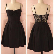 Load image into Gallery viewer, Spaghetti strap black simple lace cheap sexy homecoming prom dress BD0067