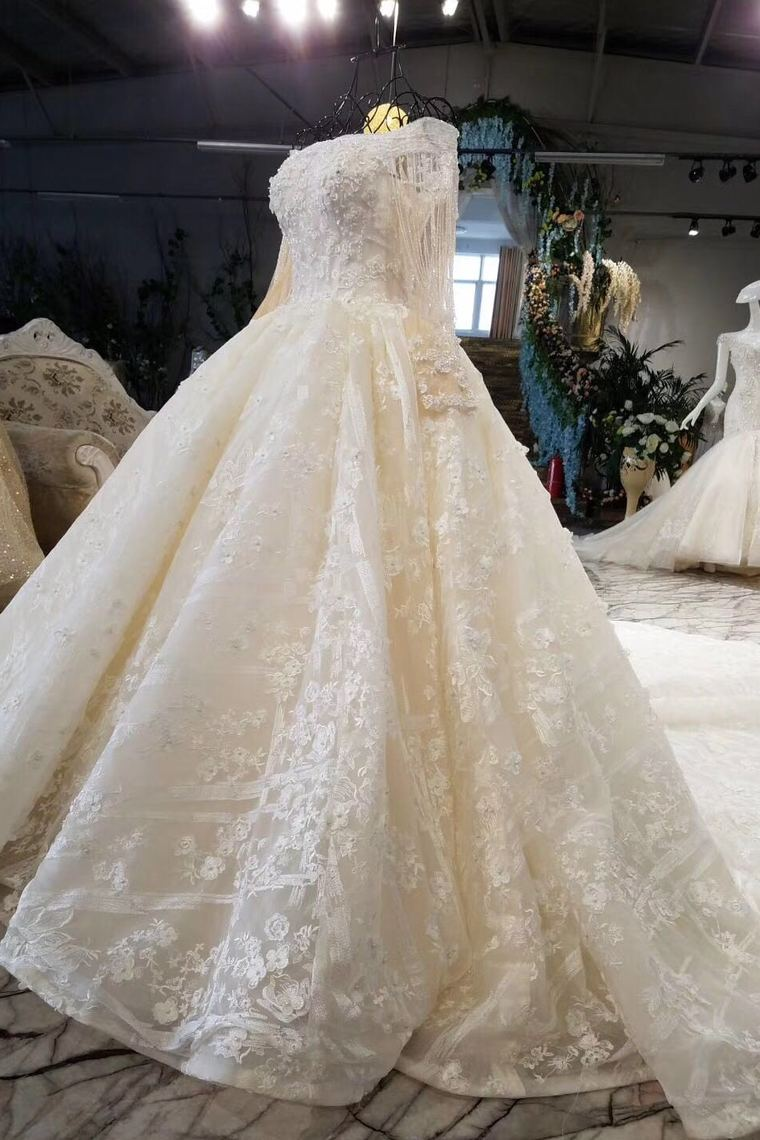 2019 Luxury Wedding Dresses V-Neck Ball Gown Floor-Length