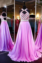Load image into Gallery viewer, High Quality A-line Chiffon Halter Sleeveless Open Back Prom Dresses PG298