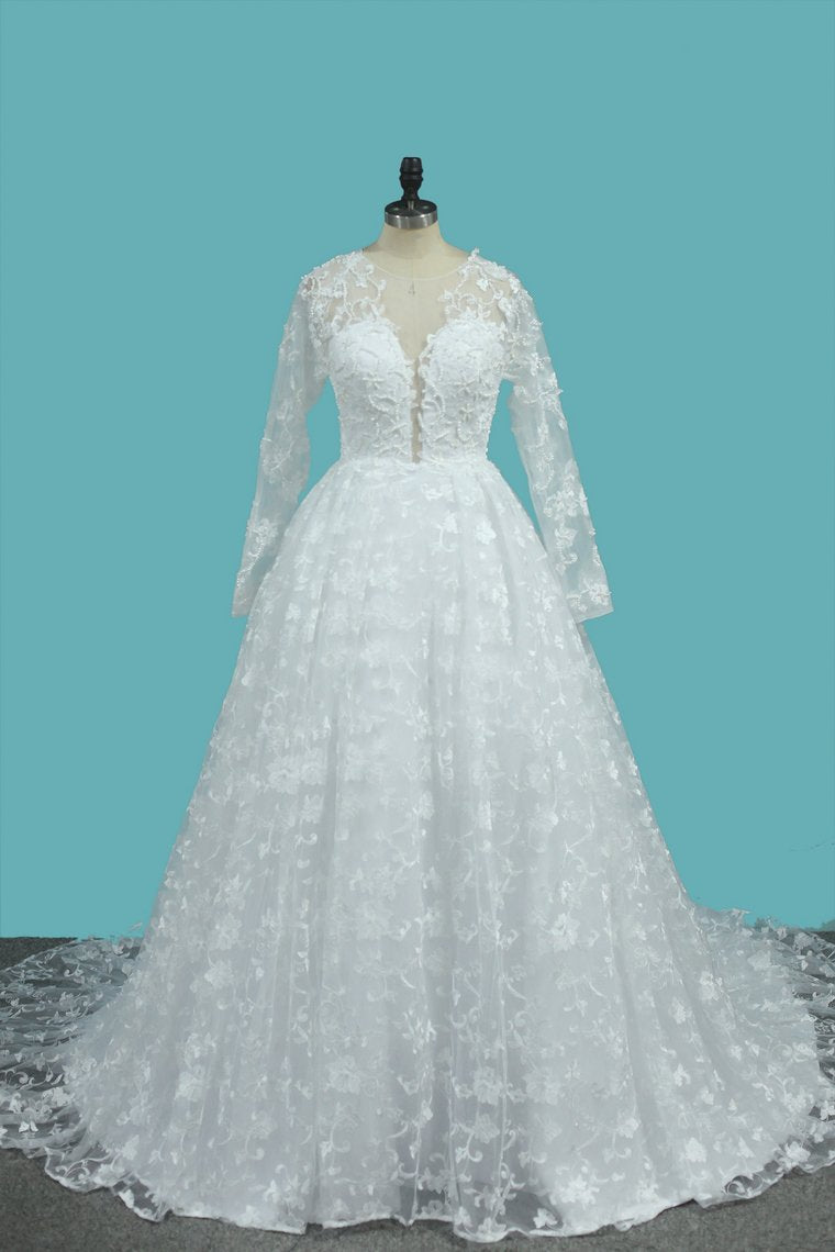 2019 Luxurious A Line Lace Scoop Long Sleeves Wedding Dresses With Pearls Royal Train