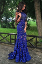 Load image into Gallery viewer, Royal Blue Jewel Sweep Train Lace Backless Mermaid Prom Dress with Beading N36