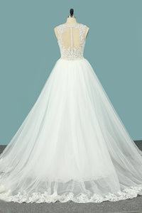 2019 Mermaid Wedding Dresses Scoop Tulle With Applique Court Train Detachable