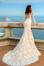 Load image into Gallery viewer, 2019 Tulle Scoop Long Sleeves With Applique Mermaid Wedding Dresses
