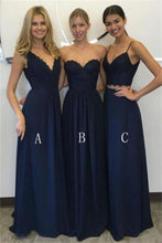Load image into Gallery viewer, Elegant A-Line Long Blue Charming Bridesmaid Dresses Bridesmaid Gowns