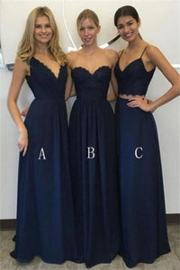 Elegant A-Line Long Blue Charming Bridesmaid Dresses Bridesmaid Gowns