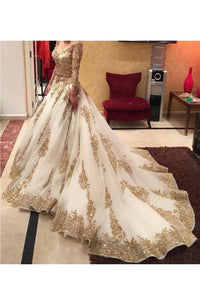 2019 Prom Dresses V Neck Long Sleeves Tulle With Applique And Beads Court Train
