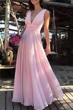 Load image into Gallery viewer, Flowy Simple Cheap Long V-Neck Pink Prom Dresses Party Dresses