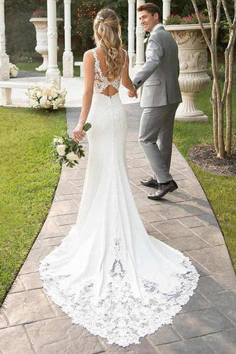 Spaghetti Straps Lace Open Back Mermaid Off White Wedding Dresses Bridal Dresses SRS15416