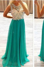 Load image into Gallery viewer, Sexy Backless Chiffon Long Scoop Beads Cap Sleeve A-Line Prom Dresses RS966
