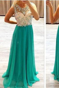 Sexy Backless Chiffon Long Scoop Beads Cap Sleeve A-Line Prom Dresses RS966